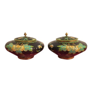 Vintage Cloisonné Lidded Jars - A Pair For Sale