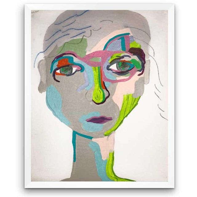This abstract portrait is by contemporary artist Linda Ward of Detroit. This portrait is #288 out of a series of 500...