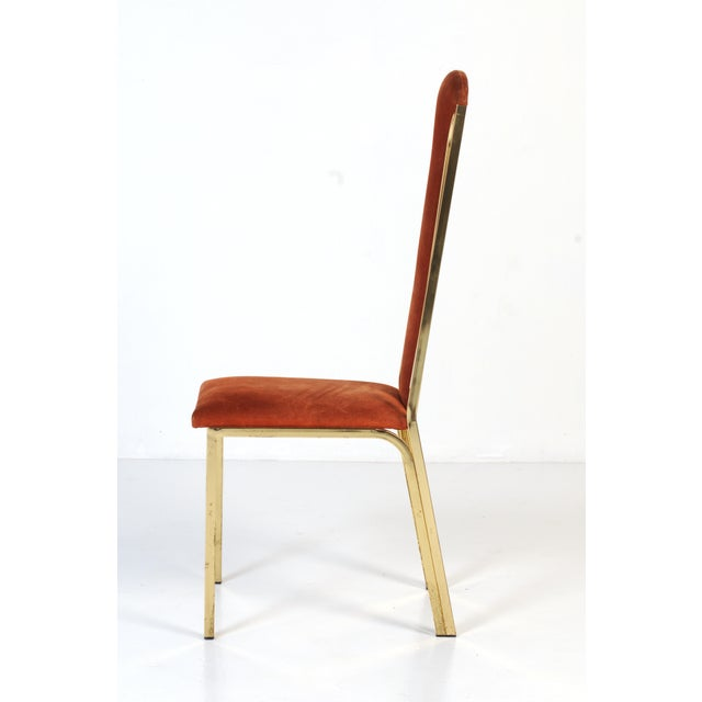 1970s Italian Suede and Brass Chairs-Set of 6 For Sale In Chicago - Image 6 of 10