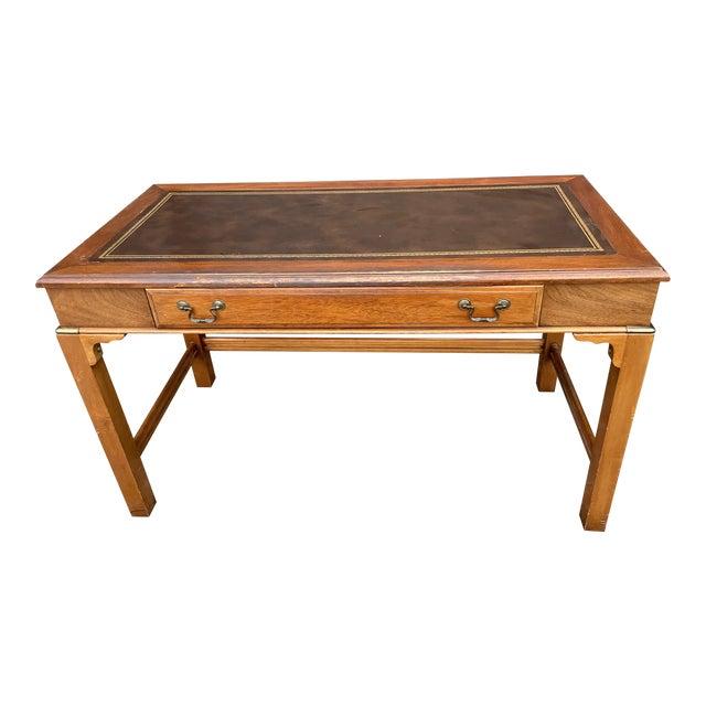 Vintage Lane Altavista Mahogany, Brass, Leather Desk For Sale