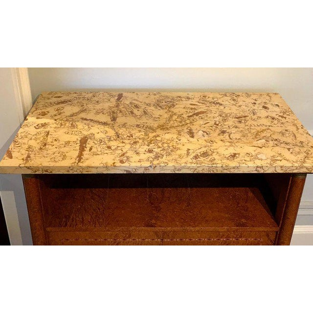 Metal French Sienna Marble and Burlwood Bar or Sideboard For Sale - Image 7 of 13