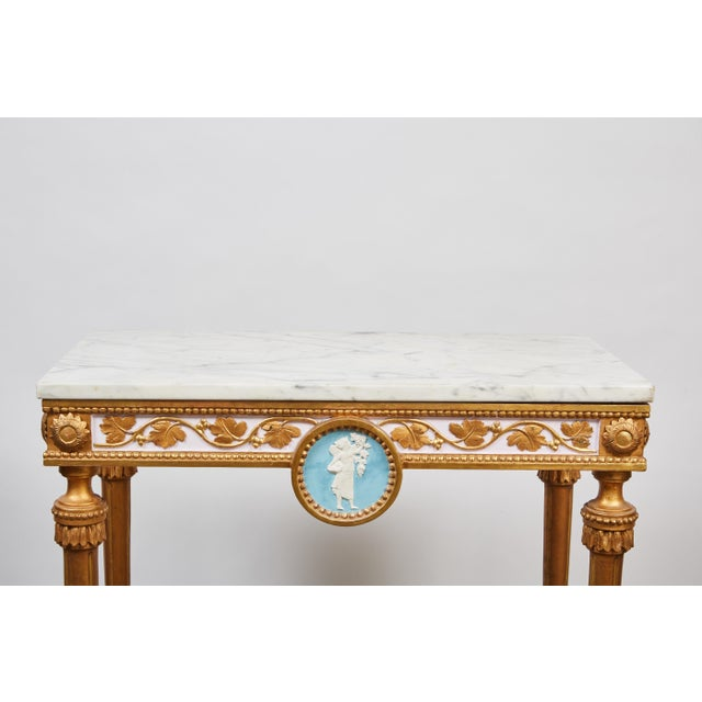 White 1790's Swedish White Marble and Gilded Console and Mirror For Sale - Image 8 of 10
