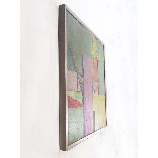 Mid-Century Modern Stephen Cimini Oil On Canvas Modern Painting For Sale - Image 3 of 5
