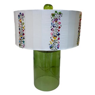Stray Dogs Green Glass Table Lamp For Sale