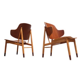Ib Kofod-Larsen Danish Sculptural Shell Chairs in Teak and Beech - a Pair For Sale