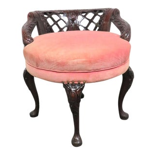 Chippendale Carved Mahogany Swivel Vanity Bench For Sale