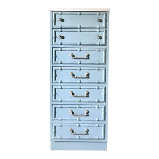 Mid-Century Hollywood Regency Powder Blue Faux Bamboo Lingerie Chest