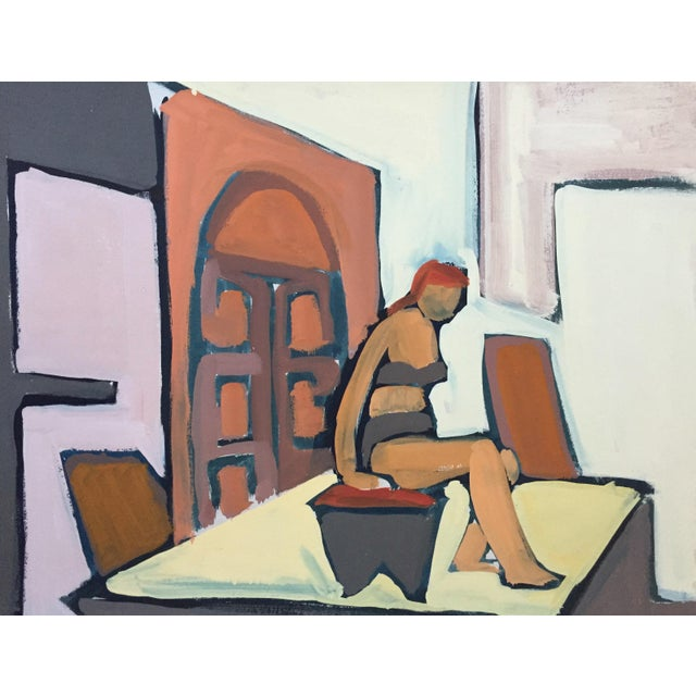 "1950s Gouache Figurative Painting Bay Area Artist ""Bikini"" For Sale In New York - Image 6 of 6"