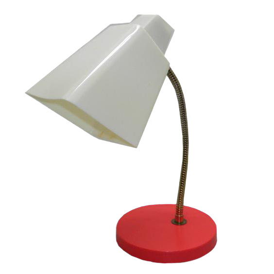 1950s Mid Century Modern White And Red Metal Gooseneck Table Lamp