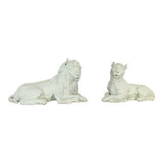 Sir Humphrey Wakefield Stately Homes Italian Mottahedeh Majolica Mantle Lions - a Pair For Sale