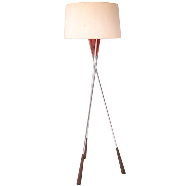 Mid-Century Modern Tripod Floor Lamp For Sale