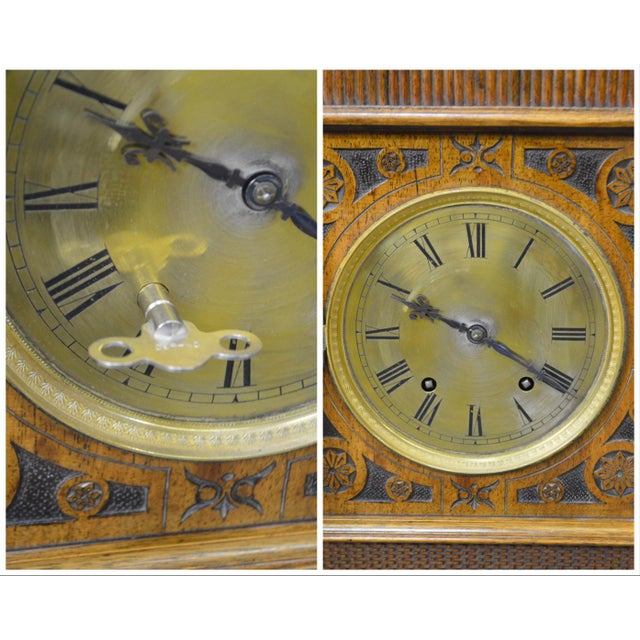 Antique Aesthetic Walnut Mantel Clock attributed to Daniel Pabst For Sale - Image 11 of 13