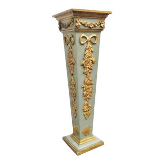 Italian Carved Gilt Painted Pedestal For Sale