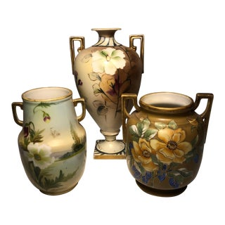 Early 20th Century Japanese Hand Painted Nippon Vases-Set of 3 For Sale