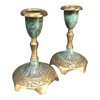 Pair of brass and turquoise candle holders For Sale