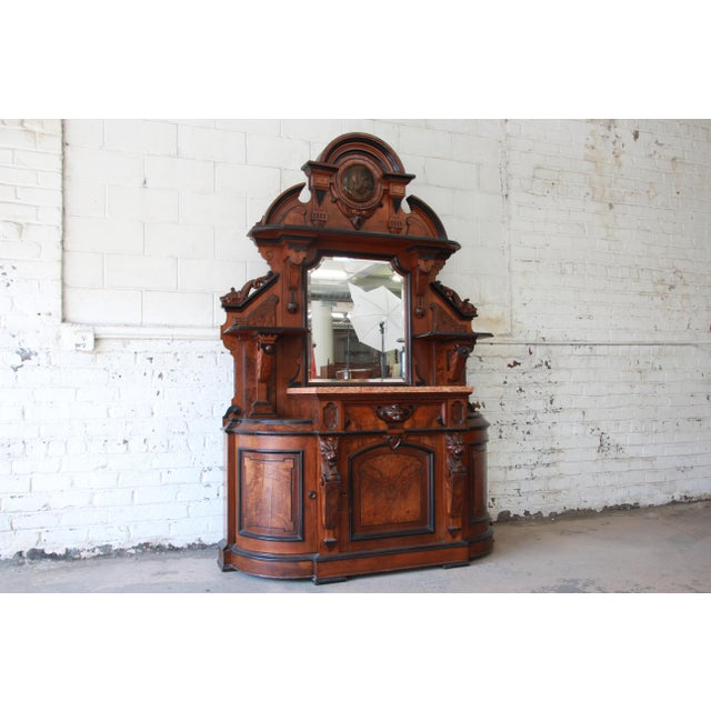 Traditional Monumental 19th Century Victorian Ornate Carved Burled Walnut Sideboard For Sale - Image 3 of 13