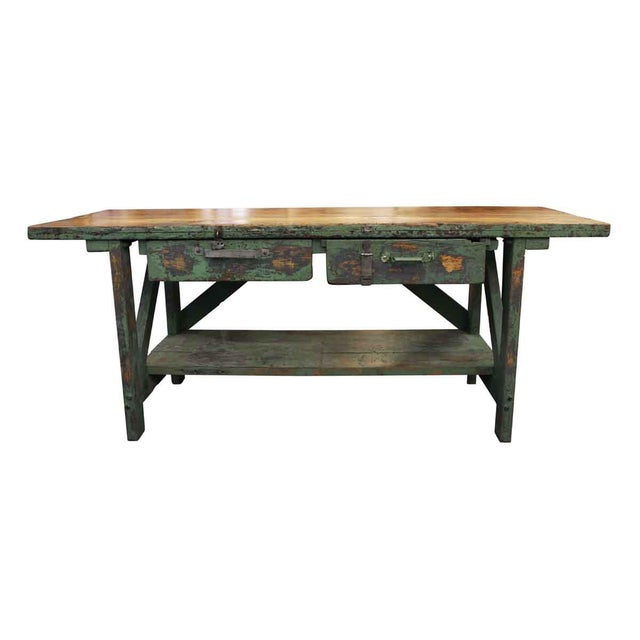 Green Mid 20th Century Vintage Large Industrial Green Painted Work Table For Sale - Image 8 of 8