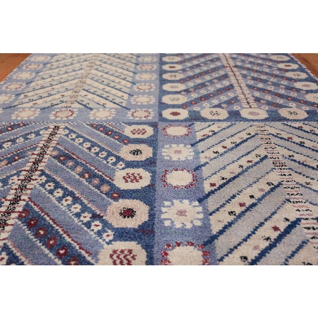 Blue Vintage Scandinavian Marta Maas Marianne Richter Pile Rug - 4′8″ × 7′ For Sale - Image 8 of 11