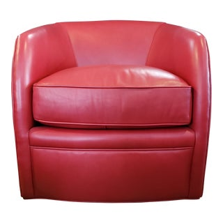 Red Leather Swivel Chair For Sale