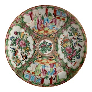 Antique Chinese Rose Medallion Plate For Sale