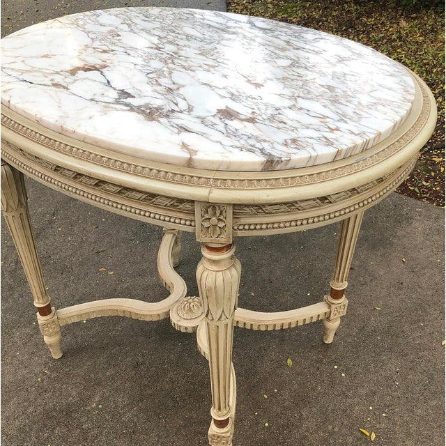 White 19th Century French Louis XVI Marble Top Oval End Table For Sale - Image 8 of 11