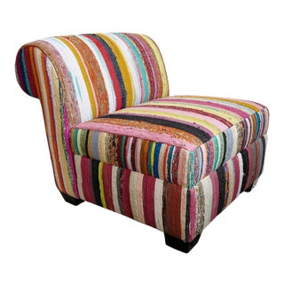 Sari Rug Slipper Chair For Sale