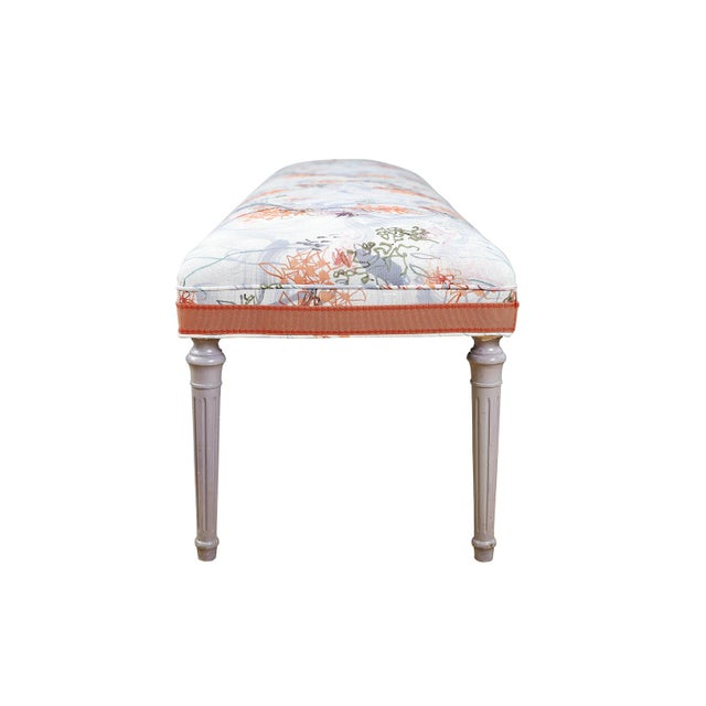 Traditional Vintage Louis XVI Bench in Ferrick Mason's Victorian Mod - Violet Coral Fabric For Sale - Image 3 of 5