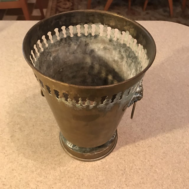 Vintage Brass Planter With Lion Head Knockers - Image 7 of 11