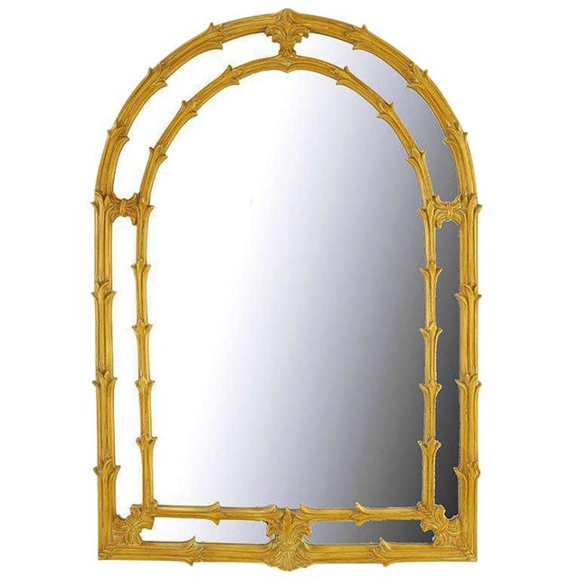 Arched Top Mirror Of Umber Glazed Vines For Sale