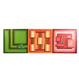 Abstract Triptych Rek Paintings - Set of 3 For Sale
