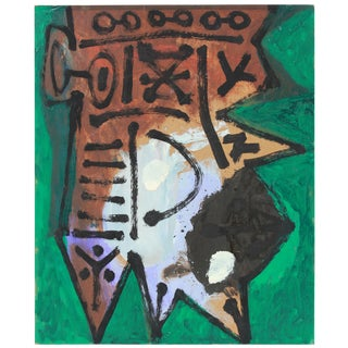 Emerald Green and Brown Modernist Abstract Painting in Oil, Circa Late 1950s For Sale