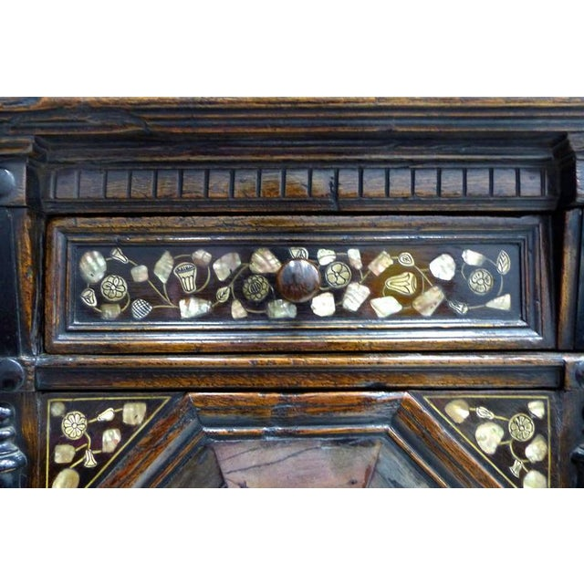 17th Century Restoration Charles II English Cabinet circa 1660-1685, Mother-of-Pearl Inlays For Sale - Image 5 of 11