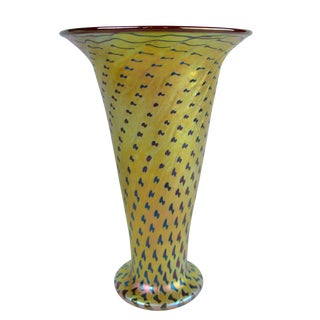 Lundberg Studios Cheetah Pattern Art Glass Vase For Sale