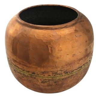 Vintage Turkish Copper Cauldron   Rounded Hammered Copper Cauldron For Sale
