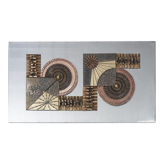 Aluminium and Brass Brutalist Metal Wall Panel Sculpture, 1970s For Sale