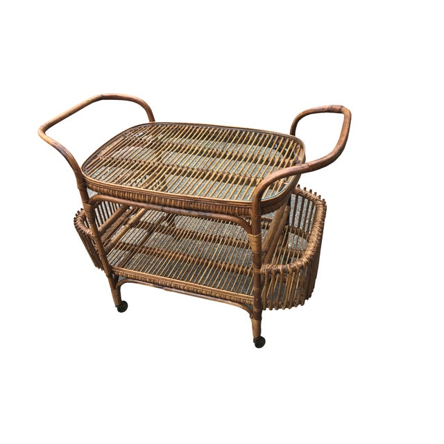 Vintage Boho Chic Rattan and Bamboo Bar Cart For Sale - Image 4 of 5