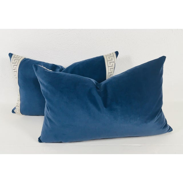 Hollywood Regency Royal Blue Plush Velvet Lumbar Pillows - a Pair For Sale - Image 3 of 5