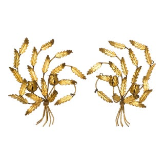 Mid-Century Italian Gold Gilt Flower and Leaf Wall Sconce Candle Holders - a Pair For Sale