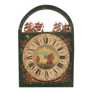 19th-C. Hand-Painted Nautical Dutch Clock Face For Sale