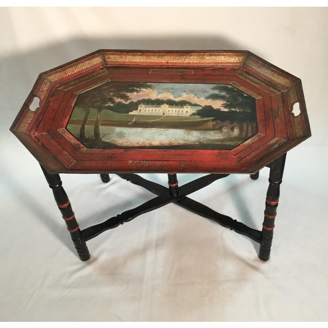 English Traditional 19th C. Scenic Hand Painted Tole Tray Table For Sale - Image 3 of 13
