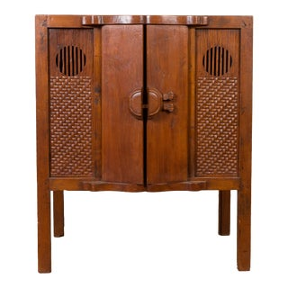 Chinese Vintage 1940s Wooden Cabinet with Two Doors and Carved Panels For Sale