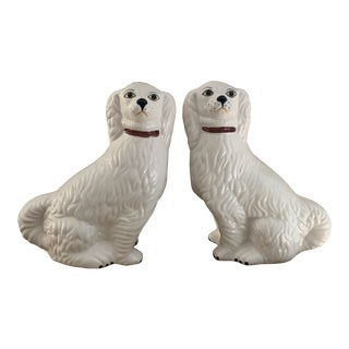 White Italian Ceramic Staffordshire Style Dogs - Pair For Sale