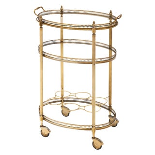 Art Deco Period Brass Oval Bar Cart For Sale