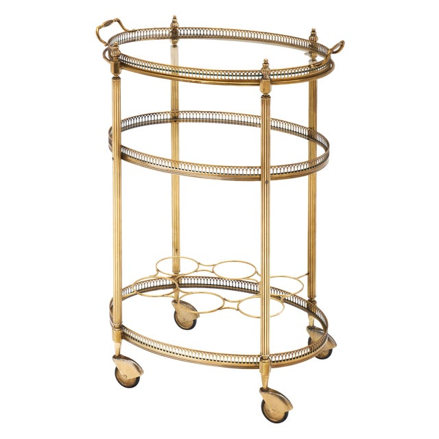 Art Deco Period Brass Oval Bar Cart For Sale