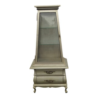 Tall and Narrow Two Part Obelisk Shape Painted China Closet Display Cabinet Cupboard 2220 For Sale