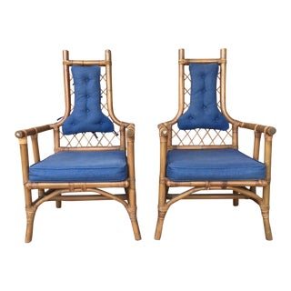 Vintage Bamboo Chairs- A Pair For Sale