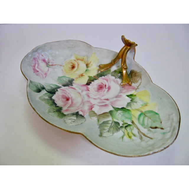 Gorgeous Antique Limoges France Serving dish/tray beautifully hand painted with soft pink and yellow roses accented with...