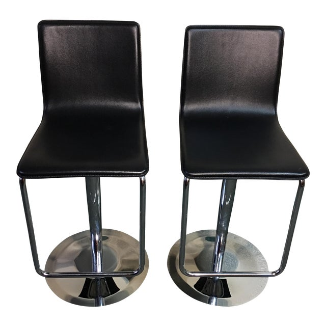 Leather & Polished Steel Adjustable Bar Stools - a Pair - Image 1 of 10