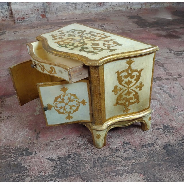 Wood Antique Italian Florentine Small Gilt-Wood Commodes -A Pair For Sale - Image 7 of 10