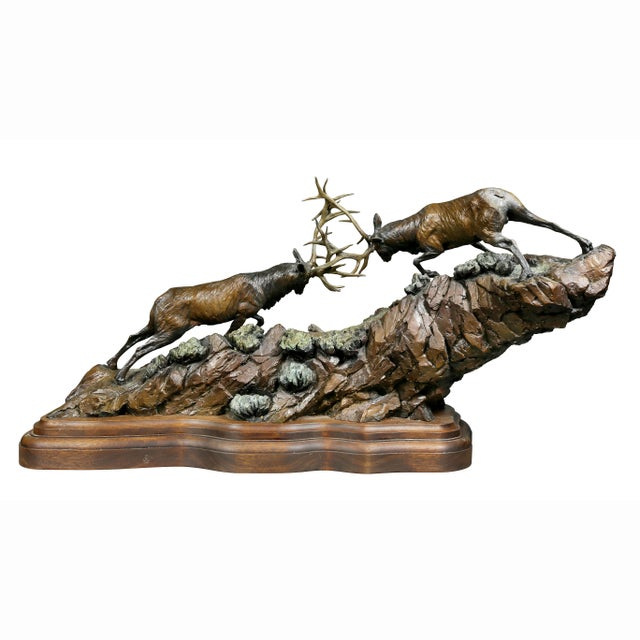 """Western Bronze of Elk """"Forces of Nature"""" by Ken Rowe For Sale - Image 11 of 13"""